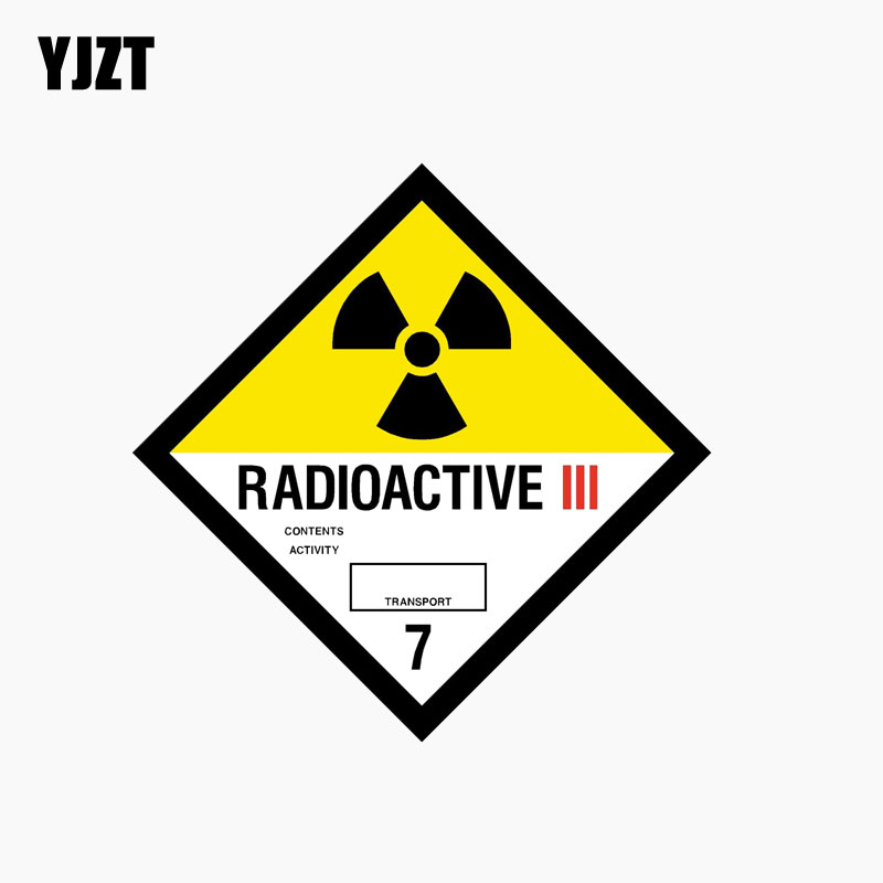 YJZT 10CM*10CM RADIOACTIVE Car Sticker Reflective Car Window Personality Decal C1-7719
