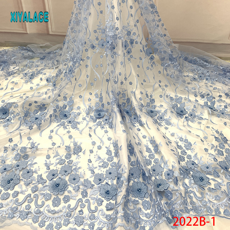 Nigerian Beaded Lace Fabric 2019 High Quality African 3D Net Lace Fabric Wedding French Tulle Lace Material For Dress YA2022B-1