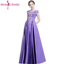 Beauty Emily New Banquet Purple Long Evening Dresses 2019 Lace Formal Robe De Soiree Occasion Party Prom Satin