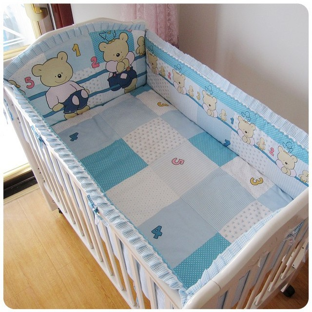 Promotion! 6PCS Bear Baby Bedding Set For Cot and Crib Waterproof Cradle (bumper+sheet+pillow cover)