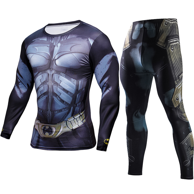 Sportwear Joggers Skinny Leggings 3D Compression Sets High Elastic Men T Shirt Causal Fitness Tracksuits Batman Exercise Suits