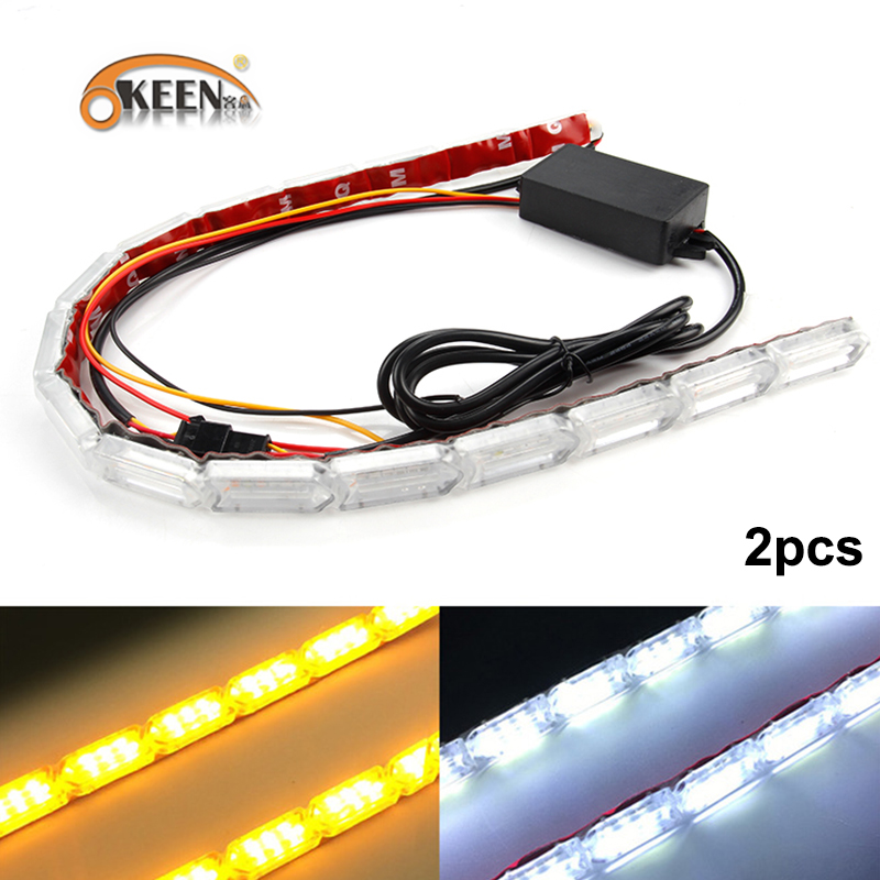 OKEEN 2 piezas impermeable Flexible tiras de luces LED blanco DRL luz corriente diurna de secuencial de estilo Switchback faro