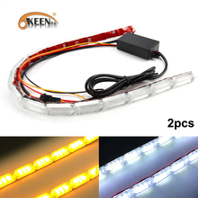 hot deal buy okeen 2pcs waterproof flexible led strips lights white drl daytime running light of sequential flow style switchback headlight