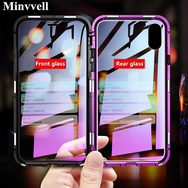 For iPhone XS/ XS MAX/ 7 8 Plus Case Magnetic Adsorption Metal Bumper Front + Back Tempered Glass Cover For iPhone XR XS Case iphone xr case magnetic