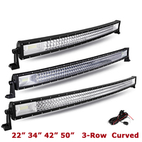 LYC 22 34 42 Curved LED Light Bar 50 Combo Beam Triple Row Led Work Light for Car SUV ATV RV PickUp Truck Led Bar Offroad