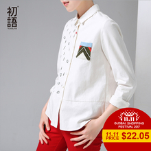 Toyouth Brand Shirt Women Autumn Embroidery Pattern Turn Down Collar Long Sleeve Casual Blouse Shirt White Color
