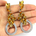 Long Big Created Golden Citrine, White Cz Woman's Wedding  Silver Earrings 66x23mm