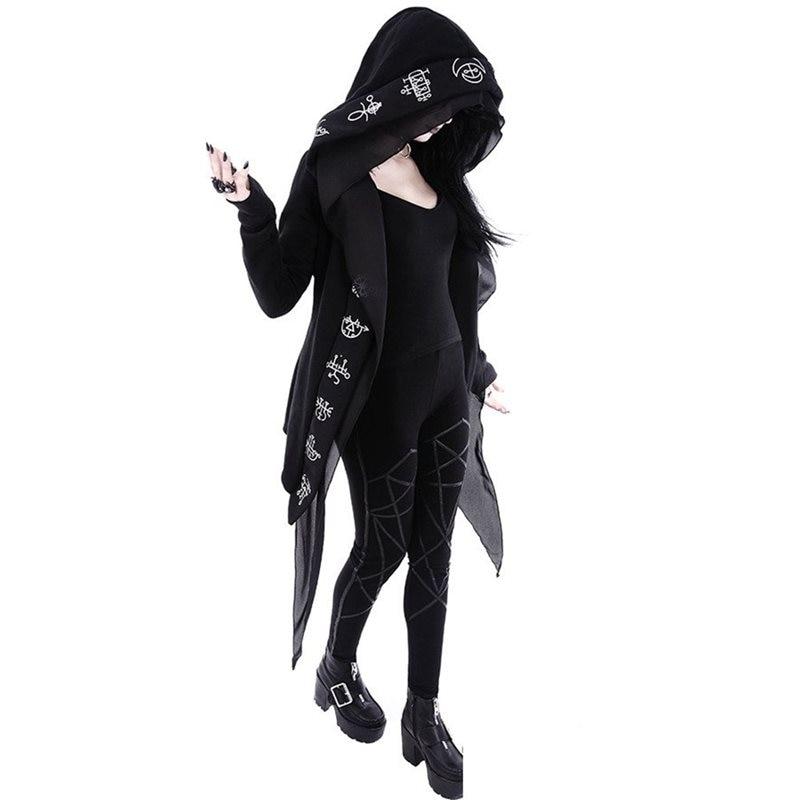 Women Hoodie Oversize Casual Autumn Top Gothic Long Sleeve Fashion Harajuku Print Hip Hop Hoodies Female Black Coat Plus Size5XL in Hoodies amp Sweatshirts from Women 39 s Clothing