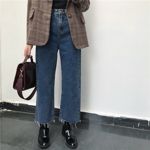Jeans Denim Solid Tassel Lady Elegant Wide Leg Pant Ankle-length High Waist Womens Trousers Large Size Bottoms Basic Classic 1