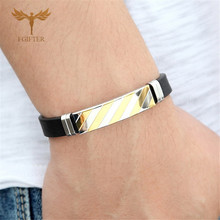 Fashion Mens Bracelets Geometric Gold Silver Color Stainless Steel Jewelry Man Accessory Black Silicone Bangles