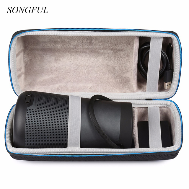 Travel Wireless Bluetooth Speakers Cases For Bose Soundlink Revolve+ Extra  Space For Plug & Cables Storage Classic Zipper Bag -in Speaker Accessories