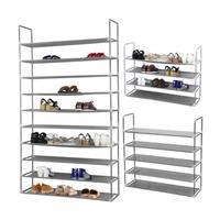 OUNONA 50 Pair 10 Tier Space Saving Storage Organizer Free Standing Shoe Tower Rack