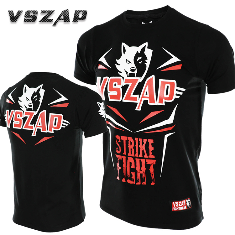 VSZAP STRIKE FIGHT Short Sleeve T-shirt Jujitsu MMA  Fitness Thai Boxing Martial Arts Wind