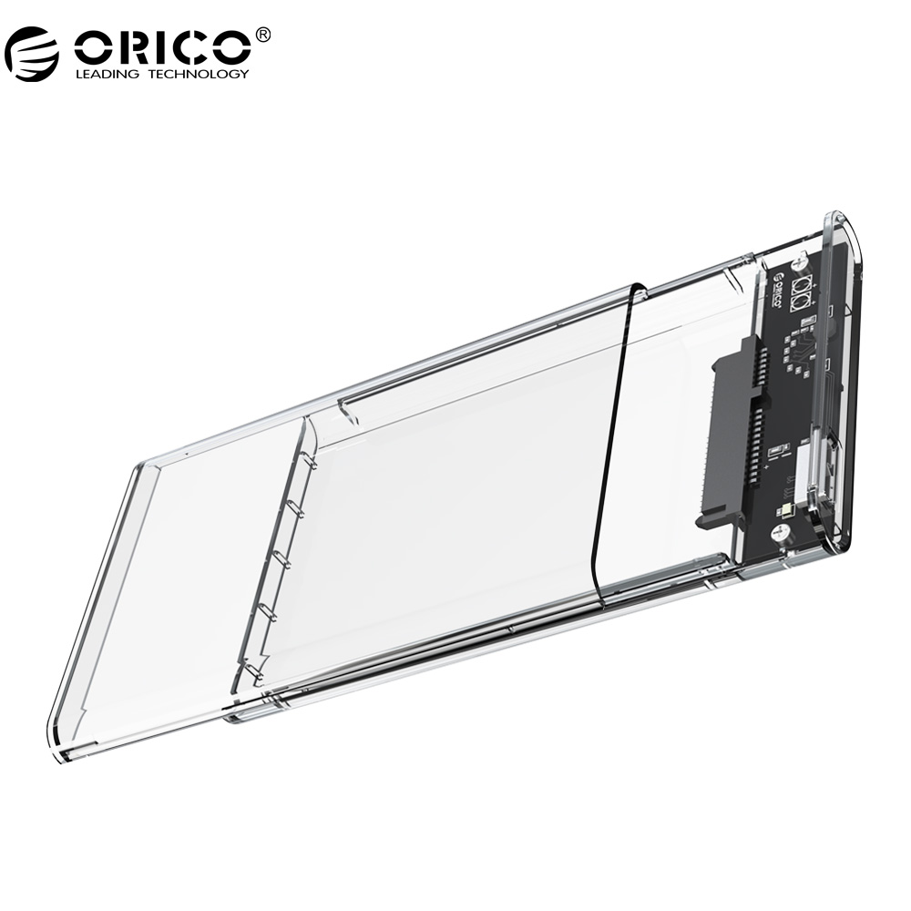все цены на ORICO 2139U3 Transparent Hard Drive Enclosure 2.5 inch USB3.0 Hard Drive Enclosure Support UASP protocol for 7-9.5 mm HDD/SDD онлайн
