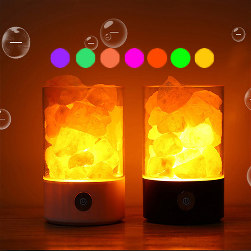 Trecaan 7color USB Crystal Salt Night Light Touch Brightness Bedroom Night Light Lava Air Purifier Lamp For Home Hotel KTV Bar oygroup mini hand carved natural crystal himalayan salt lamp night light cylinder shaped illumilite lamp salt light oy17nl02