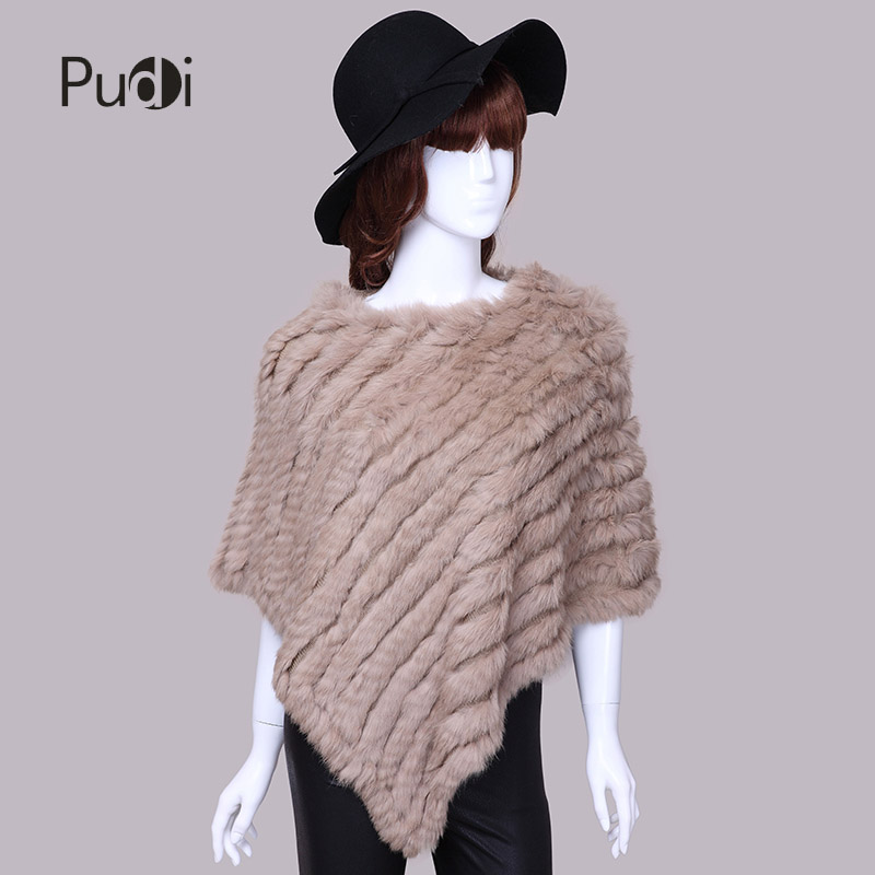 Pudi Winter Scarf Knitted Rabbit Fur Shawl Poncho Stole