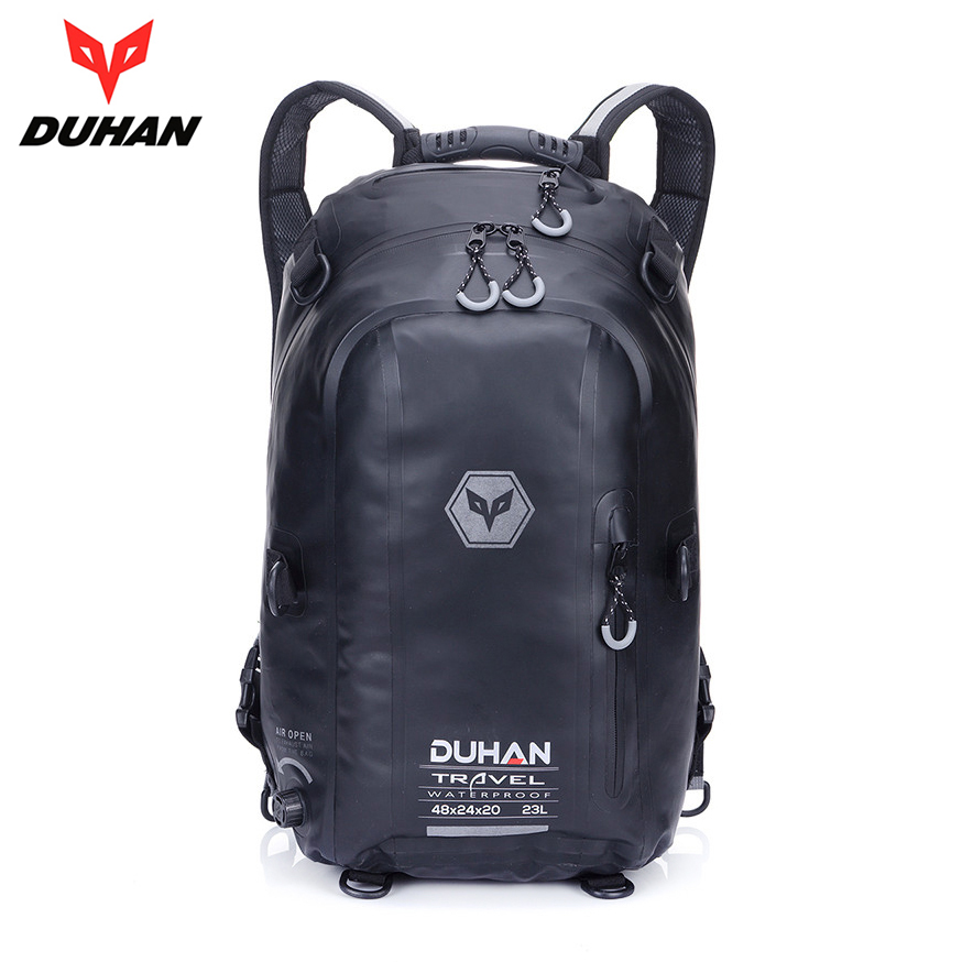 DUHAN Black Motorcycle Bag Waterproof Motorcycle Backpack Touring Luggage Bag Motorbike Helmet Bags Moto Magnetic Tank