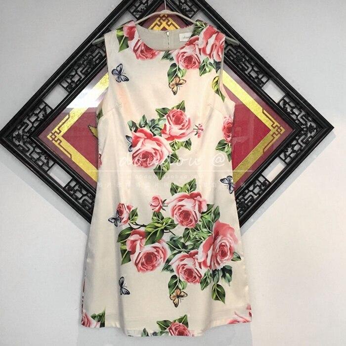 Une Floral Robes Piste Réservoir Élégant Tunique Courte Blanc D'été Imprimé Ligne Robe Femmes Manches Mini 2018 Sans Parti m8wvN0n