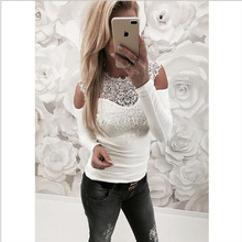 купить 6 Colors Trendy T-Shirt V-neck Criss Cross Women Lace T Shirt Summer Style Long Sleeve Tops Hollow Out Top femme top tee tshirt по цене 912.09 рублей
