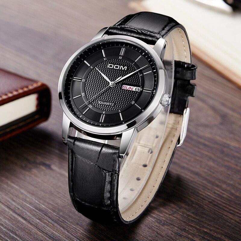 DOM Watch Men Waterproof leather Luxury Business WristWatches Date Quartz Clock Watches Men reloj hombre erkek kol saati