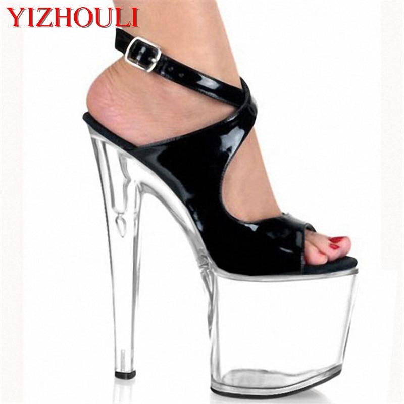 8 inch crystal sandals platform sexy Dance shoes Rihanna like rome strappy sandals fashion black 20cm high heels
