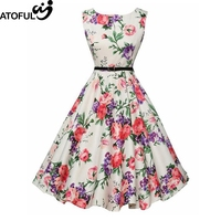 ATOFUL Women's Vintage Dress A Line Skater Dress Floral Printed O-Neck Knee-length Sleeveless White Polyester Summer Mid Rise