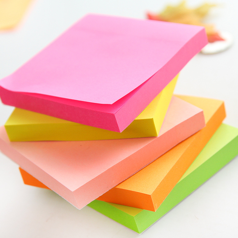 5 Pcs/Lot 100 Sheets Fluorescent Color Sticky Notes For Marker Classification Macaron Memo Pad Post Office School Supplies A6971