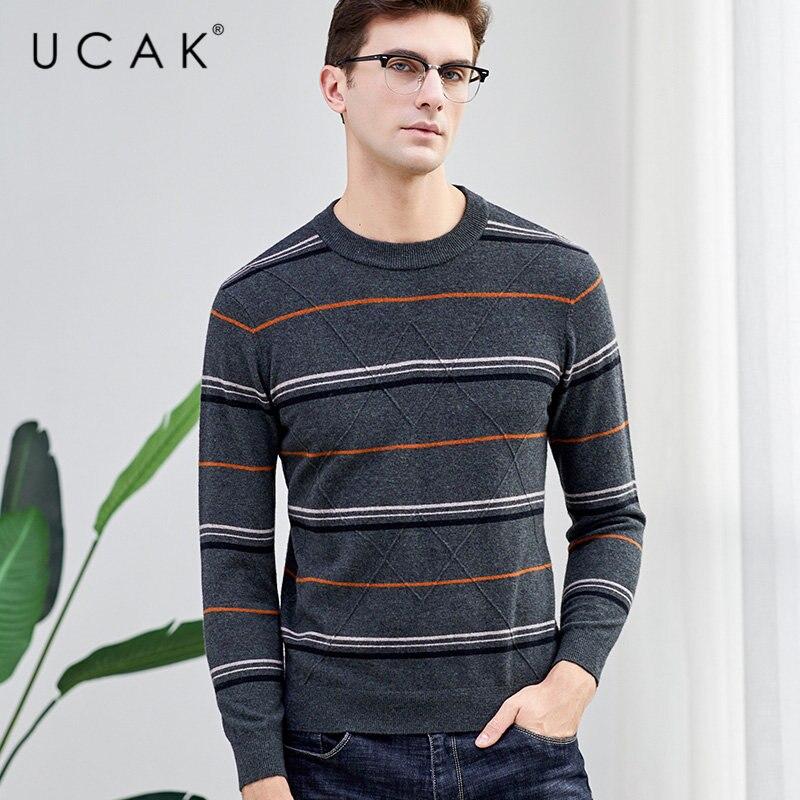 UCAK Brand Merino Wool Sweater Men Streetwear Casual Striped O-Neck Pull Homme Autumn Winter Knitted Cashmere Pullover Men U3041