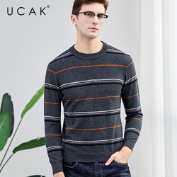 UCAK Brand Merino Wool Sweater Men Streetwear Casual Striped O-Neck Pull Homme Autumn Winter Knitted Cashmere Pullover Men U3041
