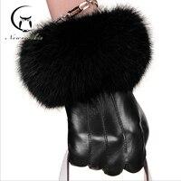 قفازات جلد النساء الشتاء وصول جديدة الإناث جلد طبيعي قفازات القفازات الدافئة سميكة ريال الفراء أرنب الأزياء كامل الإصبع