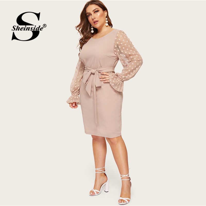 Sheinside Plus Size Dot Mesh Sleeve Midi Dress Women 2019 Spring Elegant Flounce Sleeve Dresses Ladies High Waist Belted Dress