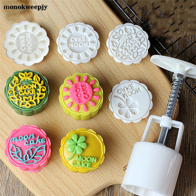 51d001191 1 Set Flower Chinese Mooncake Mold Moon Cake Press Tools Mid-Autumn  Festival Hand-