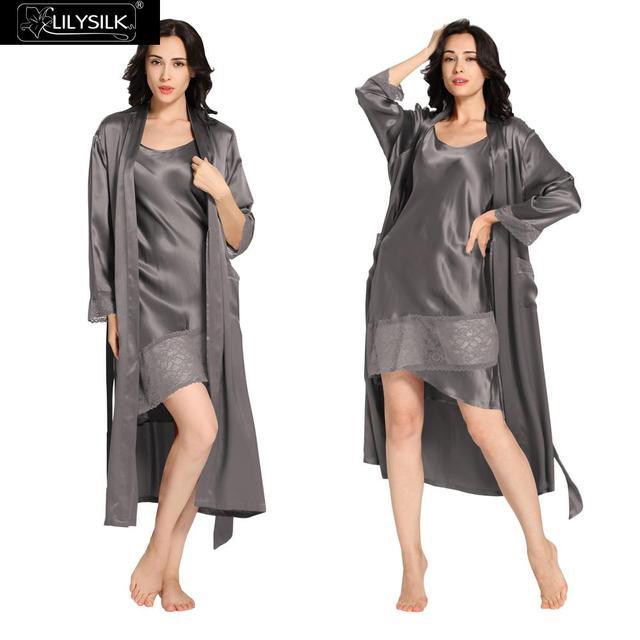 Lilysilk 100% Silk Robe Nightgown Long Set Sleepwear Dark Grey 22 Momme Women Winter Nightwear Lingerie Night Dress Lace
