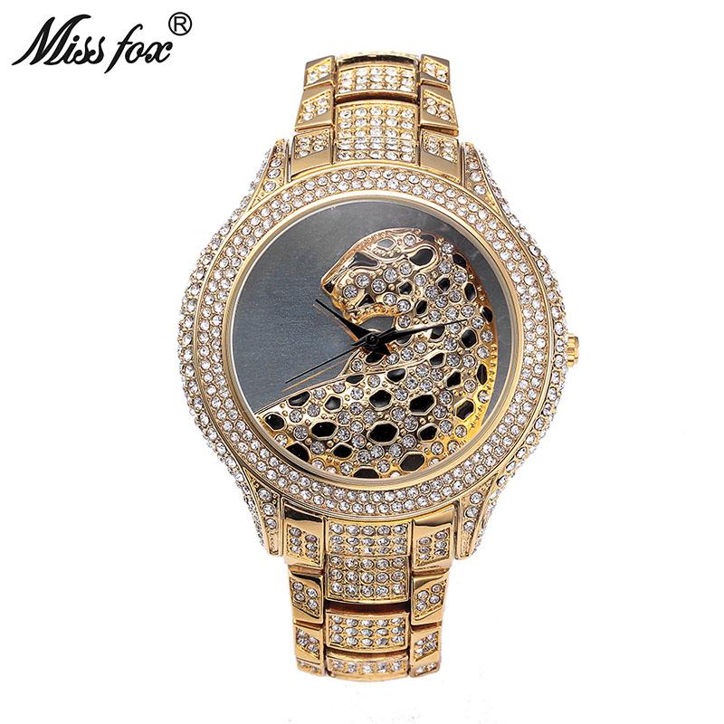 Prix pour Mlle Fox Chaude Léopard Montre De Mode Femelle D'or Horloge Charmes Plein Diamant Marque Montre En Or Femmes Poignet D'affaires Montres À Quartz