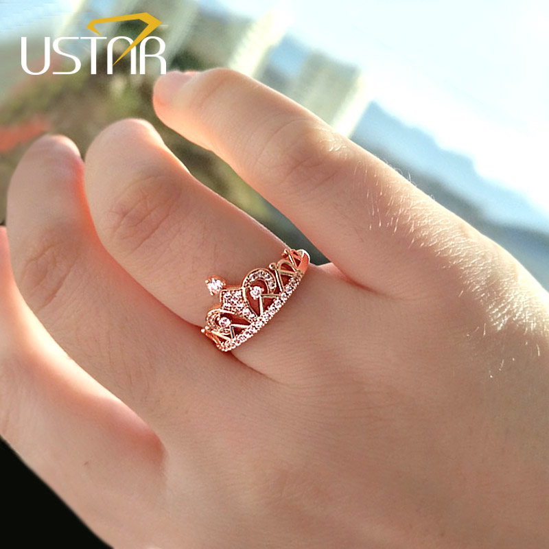 Which Hand Wedding Ring Female.Ustar Princess Crown Rings For Women Aaa Cubic Zirconia Micro Pave Setting Engagement Wedding Rings Female Anel Accessories