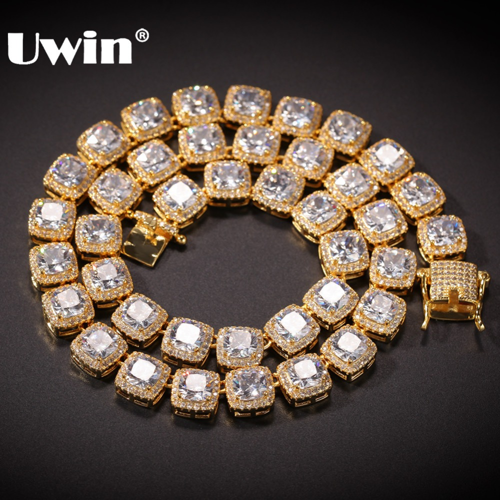 UWIN Square Cubic Zirconia Tennis Chains Top Quality Hiphop Necklace Luxury Full Iced Out CZ Jewelry