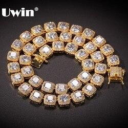 UWIN, квадратные теннисные цепочки с фианитом, высокое качество, хип-хоп ожерелье, роскошное, полностью покрытое фианитом, ювелирные изделия д...