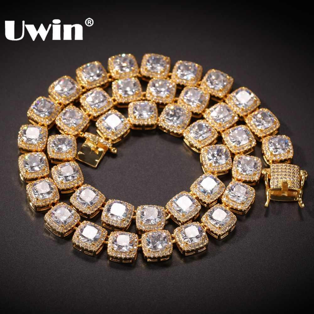 UWIN plac cyrkonia tenis łańcuchy najwyższej jakości Hiphop naszyjnik luksusowe pełna Iced Out CZ biżuteria dla kobiet mężczyzn spadek wysyłka