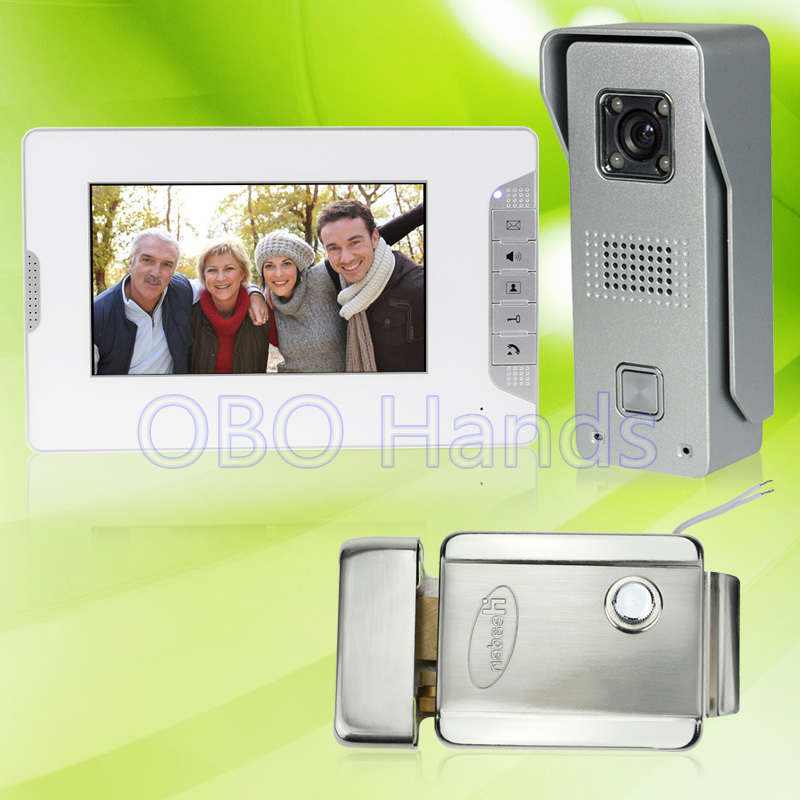 7'' wired color video door phone intercom doorbell system kit set with outdoor IR camera+white monitor+electric control lock brand new wired 7 inch color video door phone intercom doorbell system 1 monitor 1 waterproof outdoor camera in stock free ship