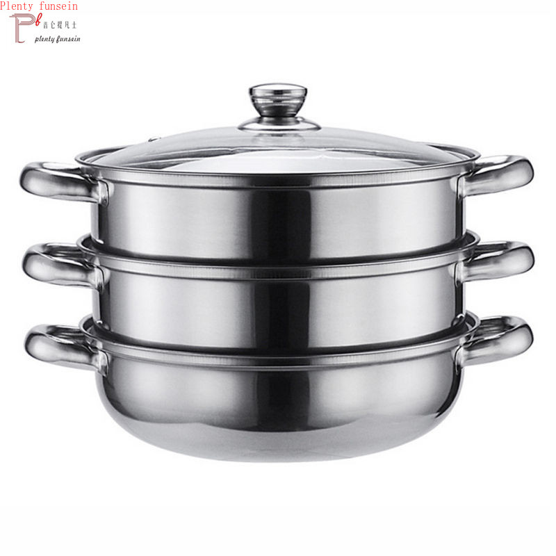 Stainless Steel triple Steamer Induction Dim Sum Steam Steaming Pot Cookware For Home Kitchen Cooking Tools 3 layers SteamersStainless Steel triple Steamer Induction Dim Sum Steam Steaming Pot Cookware For Home Kitchen Cooking Tools 3 layers Steamers