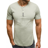 2018 New Summer Men'S Casual Bodybuliding Tshirts Button Design Short Sleeved Fitness T Shirt Mens Tee Shirt Plus Size 3XL