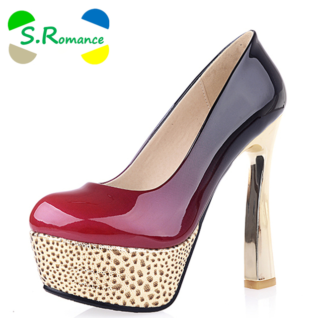 79968f204f99 S.Romance Women Pumps Fashion Slip-On Elegant Round Toe High Heels Party  Spring and Autumn Woman Shoes Black Red White SH325
