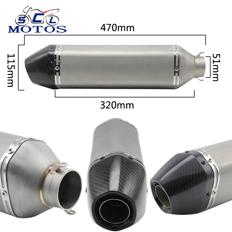 Sclmotos -36-51mm Carbon Fiber Motorcycle Exhaust Modified Muffler Pipe Scooter Dirt Bike Exhaust Muffle Escape GP Racing GSXR