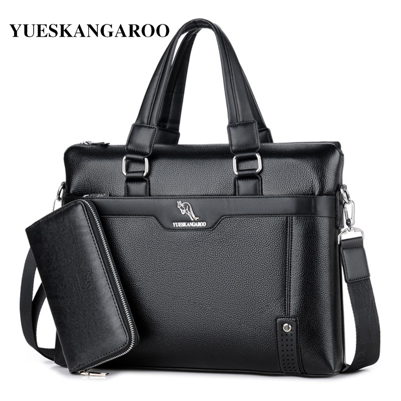 YUES KANGAROO Men Shoulder Crossbody Bag Brand Leather Shoulder Bags Business Leather Men Laptop Bag Zipper Casual Totes Handbag yues kangaroo brand men bag leather casual high quality shoulder crossbody bags classical business briefcase mens messenger bag