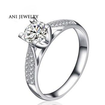 Anillos de boda en oro blanco de 18 quilates (AU750) con certificado de 0,7 quilates I-J/SI, anillo de diamantes de corte redondo anesis Feminino para mujer, joyas para San Valentín