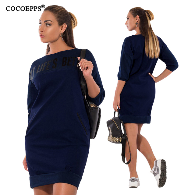 3be418d1e16 plus size casual women dress 2018 autumn winter solid Pockets Knee-Length  Dresses big sizes women Long sleeve loose dress 6XL