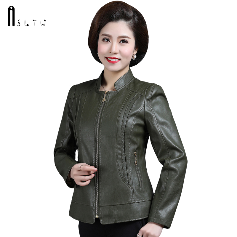 ASLTW XL-6XL Plus Size   Leather   Coat Women New Spring Fashion Turn Down Collar Solid Jacket Women Zipper Pu   Leather   Jackets