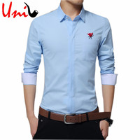 5XL Pure Cotton Embroidery Men Solid Color Dress Shirt Retro Long Sleeve Slim Fit Fancy Shirts