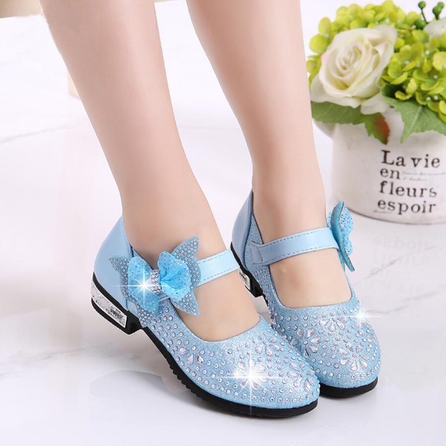 Chaussures de printemps pour filles | Chaussures à la mode, en cuir, strass pailleté, chaussures princesse, rose, argent, doré