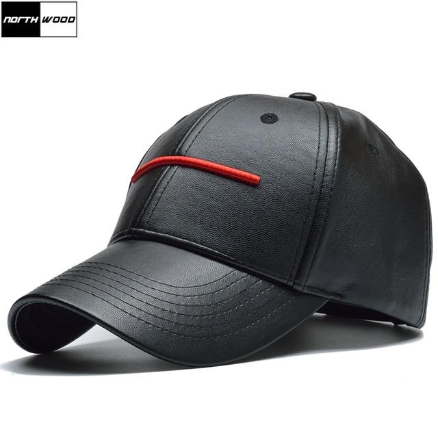 NORTHWOOD  2018 New Black PU Leather Baseball Cap Men Casquette Homme  Women Snapback Hip Hop Cap Trucker Cap Bone Dad Hat 4a748f768d3